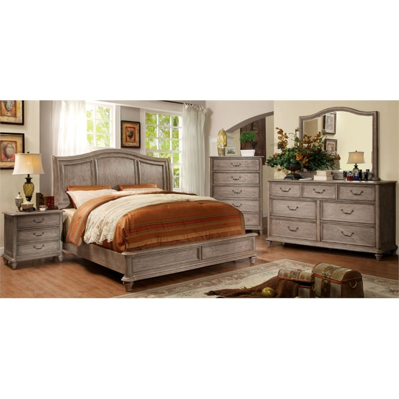 Furniture of America Calpa 4 Piece King Bedroom Set in Rustic Gray