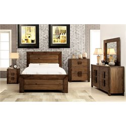 Drew 4 Piece Bedroom Set in Rustic natural tone