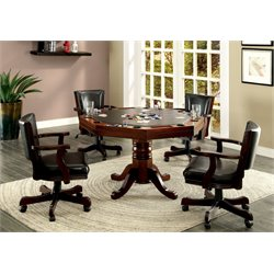 Furniture of America Deaton 5 Piece Gaming Table Set in Cherry
