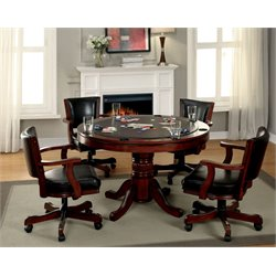 Furniture of America Matlock 5 Piece Gaming Table Set in Chestnut