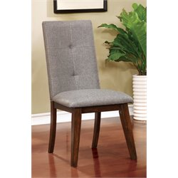 Furniture of America Mecca Fabric Side Chair in Walnut (Set of 2)