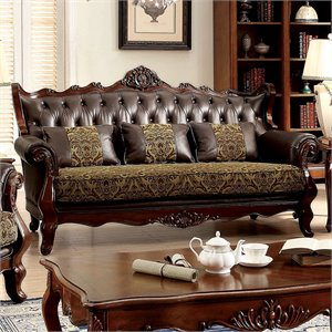 Furniture of America Amal Sofa in Dark Oak