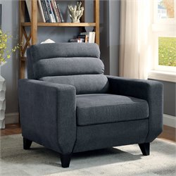 Furniture of America Mylah Padded Fabric Chair in Dark Gray
