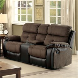 Furniture of America Gwendalyn Recliner Loveseat in Brown and Espresso