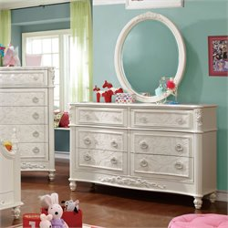 Furniture of America Aneissa Princess Dresser With Mirror in White