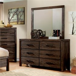 Furniture of America Bahlmer 6 Drawer Dresser With Mirror in Dark Gray