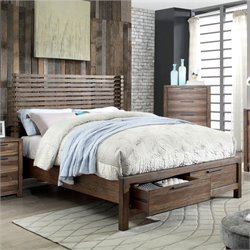 Furniture of America Bickson Queen Storage Bed in Natural Rustic Tone