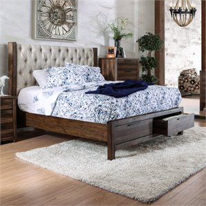 Olivia Bed in Natural Rustic Tone with drawers