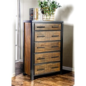 Furniture of America Idina 5 Drawer Chest in Black and Oak