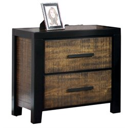 Furniture of America Idina 2 Drawer Nightstand in Black and Oak