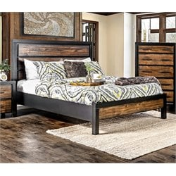 Furniture of America Idina Two Tone Queen Bed in Black and Oak