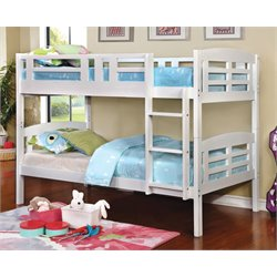 Furniture of America Golnessa Twin Over Twin Bunk Bed in White