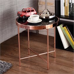 Furniture of America Vida Round Two Tone End Table in Rose Gold