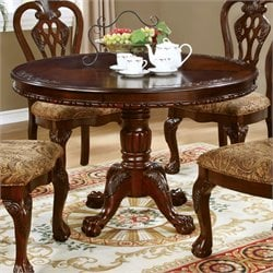Furniture of America Larue Round Dining Table in Brown Cherry