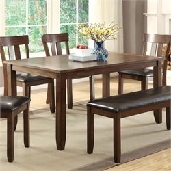 Furniture of America Edris Dining Table in Rustic Oak