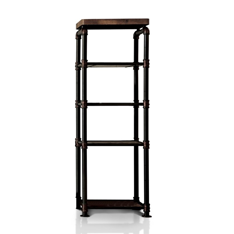 gallery of furniture of america jarod industrial pier cabinet in antique black with castorama. Black Bedroom Furniture Sets. Home Design Ideas