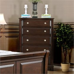 Furniture of America Glinda 5 Drawer Chest in Brown Cherry