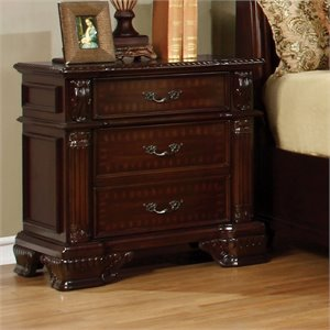 Furniture of America Darnell 2 Drawer Nightstand in Brown Cherry