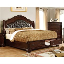 Furniture of America Darnell Ii California King Bed in Brown Cherry