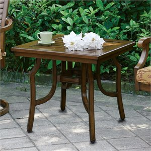 Furniture of America Nubia Patio End Table in Brown