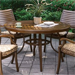 Furniture of America Nubia Outdoor Round Dining Table in Brown