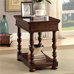 Furniture of America Madalyn End Table in Brown Cherry