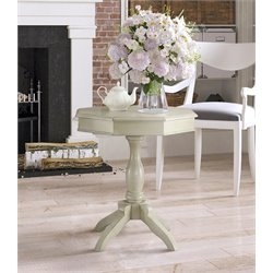 Furniture of America Ehtel Octagon Pedestal Table in White