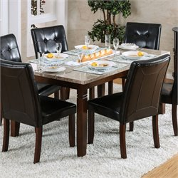 Furniture of America Tyrell Dining Table in Brown Cherry
