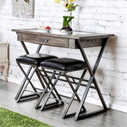 Furniture of America Eloy Bar Table in Weathered Gray