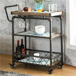 Furniture of America Sulema Industrial Bar Cart in Antique Black