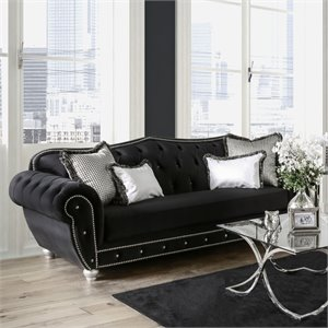 Furniture of America Beula Black Sofa in Black