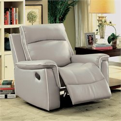 Furniture of America Valda Recliner in Light Gray