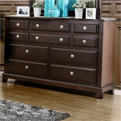 Furniture of America Glinda 10 Drawer Dresser in Brown Cherry