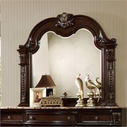 Furniture of America Strout Mirror in Brown Cherry