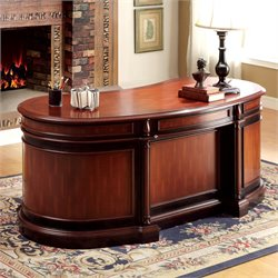 Furniture of America Ellsworth Executive Desk in Cherry and Black