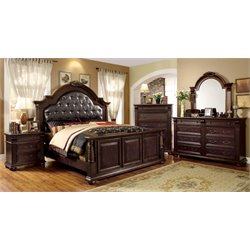 Catherine 4 Piece Bedroom Set in Brown Cherry