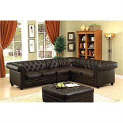 Furniture of America Marlow Leatherette Sectional in Brown