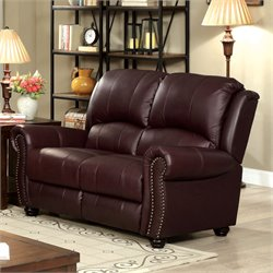 Furniture of America Gildon Leatherette Love Seat in Burgundy