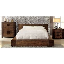 Elbert 3 Piece Bedroom Set in Rustic natural tone