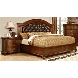 Sorella 2 Piece Bedroom Set in Cherry 7735 (Tufted HB)