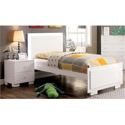 Furniture of America Hallowell 2 Piece Twin LED Bedroom Set in White