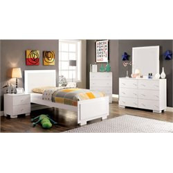 Furniture of America Hallowell 4 Piece Twin LED Bedroom Set in White