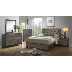 Furniture of America Charlsie 4 Piece Upholstered California King Bedroom Set