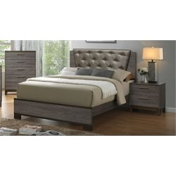 Furniture of America Charlsie 3 Piece Upholstered King Bedroom Set in Antique Gray