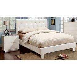 Furniture of America Kylen 2 Piece Upholstered Twin Bedroom Set in White