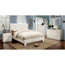 Furniture of America Kylen 4 Piece Upholstered Twin Bedroom Set in White