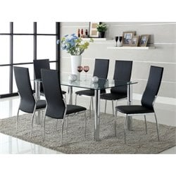 Gera 7 Piece Glass Top Dining Table