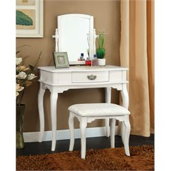 Furniture of America Regina Vanity Table and Stool in White
