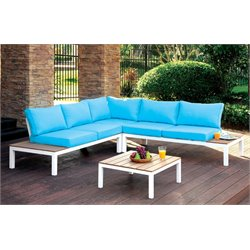 Furniture of America Chentelli Outdoor Sectional in Blue