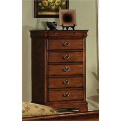 Furniture of America Wade Antique Inspired 5 Drawer Chest in Dark Oak